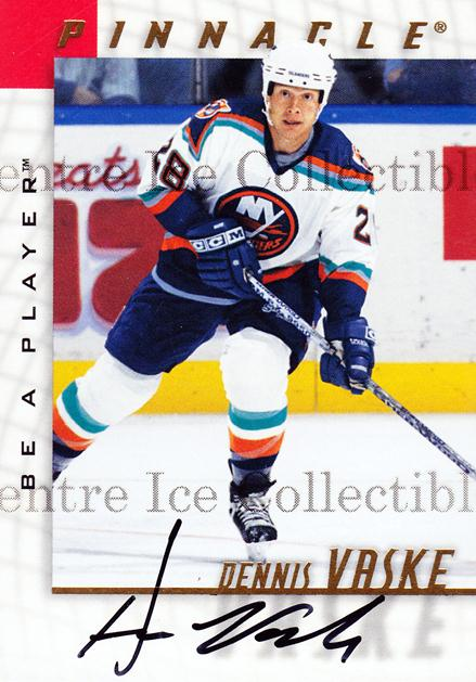 1997-98 Be A Player Auto #120 Dennis Vaske<br/>3 In Stock - $3.00 each - <a href=https://centericecollectibles.foxycart.com/cart?name=1997-98%20Be%20A%20Player%20Auto%20%23120%20Dennis%20Vaske...&quantity_max=3&price=$3.00&code=344200 class=foxycart> Buy it now! </a>