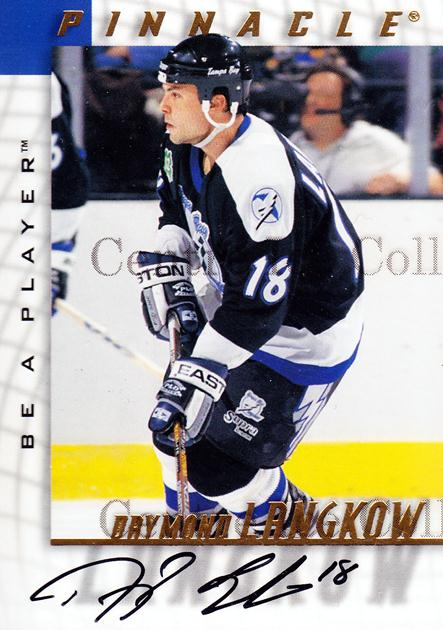 1997-98 Be A Player Auto #176 Daymond Langkow<br/>2 In Stock - $3.00 each - <a href=https://centericecollectibles.foxycart.com/cart?name=1997-98%20Be%20A%20Player%20Auto%20%23176%20Daymond%20Langkow...&quantity_max=2&price=$3.00&code=344260 class=foxycart> Buy it now! </a>