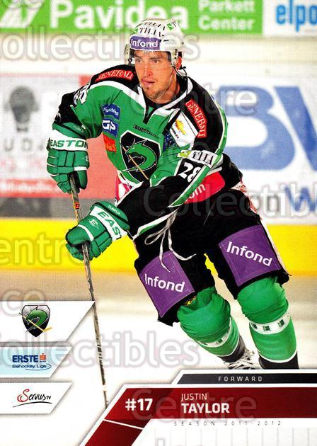 2011-12 Erste Bank Eishockey Liga EBEL #83 Justin Taylor<br/>3 In Stock - $2.00 each - <a href=https://centericecollectibles.foxycart.com/cart?name=2011-12%20Erste%20Bank%20Eishockey%20Liga%20EBEL%20%2383%20Justin%20Taylor...&quantity_max=3&price=$2.00&code=345008 class=foxycart> Buy it now! </a>