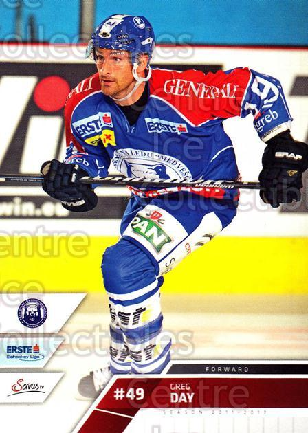 2011-12 Erste Bank Eishockey Liga EBEL #108 Greg Day<br/>4 In Stock - $2.00 each - <a href=https://centericecollectibles.foxycart.com/cart?name=2011-12%20Erste%20Bank%20Eishockey%20Liga%20EBEL%20%23108%20Greg%20Day...&quantity_max=4&price=$2.00&code=345033 class=foxycart> Buy it now! </a>