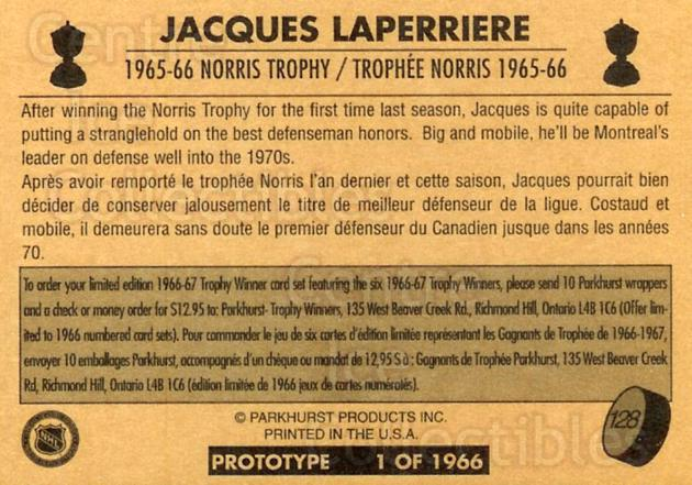 1995 Parkhurst 66-67 Promos #128 Jacques Laperriere<br/>6 In Stock - $5.00 each - <a href=https://centericecollectibles.foxycart.com/cart?name=1995%20Parkhurst%2066-67%20Promos%20%23128%20Jacques%20Laperri...&quantity_max=6&price=$5.00&code=348301 class=foxycart> Buy it now! </a>