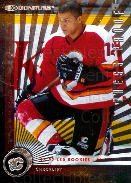1997-98 Donruss Press Proofs Silver #226 Jarome Iginla, Checklist<br/>1 In Stock - $2.00 each - <a href=https://centericecollectibles.foxycart.com/cart?name=1997-98%20Donruss%20Press%20Proofs%20Silver%20%23226%20Jarome%20Iginla,%20...&quantity_max=1&price=$2.00&code=348807 class=foxycart> Buy it now! </a>