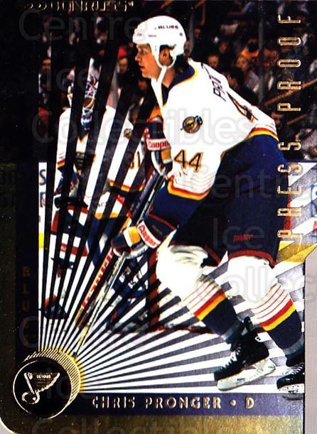 1997-98 Donruss Press Proofs Gold #100 Chris Pronger<br/>1 In Stock - $5.00 each - <a href=https://centericecollectibles.foxycart.com/cart?name=1997-98%20Donruss%20Press%20Proofs%20Gold%20%23100%20Chris%20Pronger...&quantity_max=1&price=$5.00&code=348914 class=foxycart> Buy it now! </a>