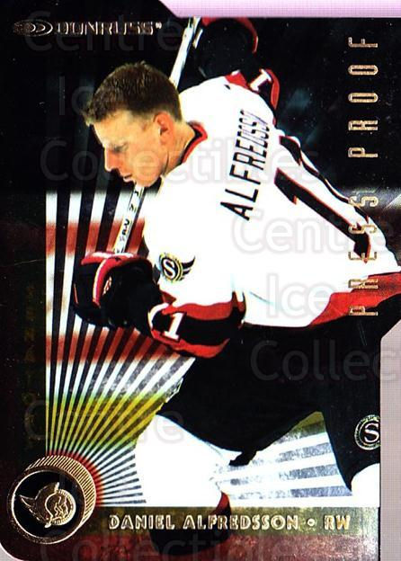 1997-98 Donruss Press Proofs Gold #17 Daniel Alfredsson<br/>1 In Stock - $5.00 each - <a href=https://centericecollectibles.foxycart.com/cart?name=1997-98%20Donruss%20Press%20Proofs%20Gold%20%2317%20Daniel%20Alfredss...&quantity_max=1&price=$5.00&code=348985 class=foxycart> Buy it now! </a>