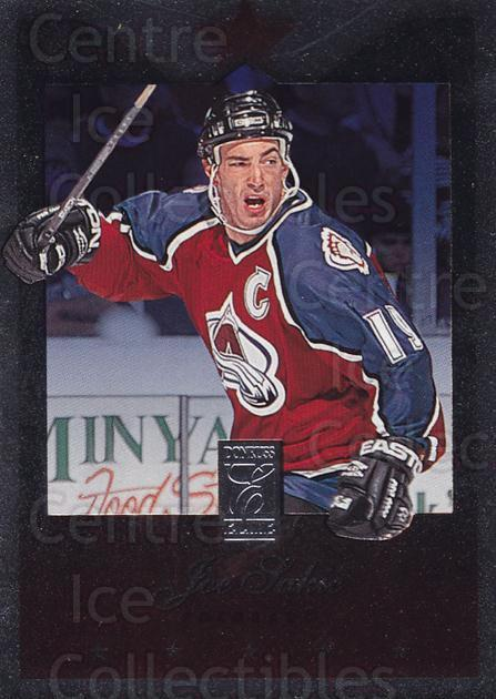 1995-96 Donruss Elite Uncut Die Cuts #16 Joe Sakic<br/>6 In Stock - $5.00 each - <a href=https://centericecollectibles.foxycart.com/cart?name=1995-96%20Donruss%20Elite%20Uncut%20Die%20Cuts%20%2316%20Joe%20Sakic...&price=$5.00&code=349275 class=foxycart> Buy it now! </a>