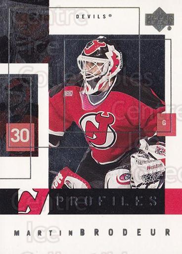 2000-01 Upper Deck Profiles #6 Martin Brodeur<br/>2 In Stock - $3.00 each - <a href=https://centericecollectibles.foxycart.com/cart?name=2000-01%20Upper%20Deck%20Profiles%20%236%20Martin%20Brodeur...&price=$3.00&code=350935 class=foxycart> Buy it now! </a>