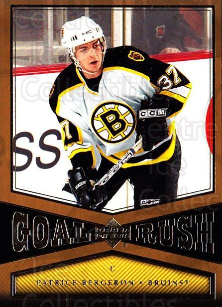 2005-06 Upper Deck Goal Rush #9 Patrice Bergeron<br/>1 In Stock - $3.00 each - <a href=https://centericecollectibles.foxycart.com/cart?name=2005-06%20Upper%20Deck%20Goal%20Rush%20%239%20Patrice%20Bergero...&quantity_max=1&price=$3.00&code=353665 class=foxycart> Buy it now! </a>