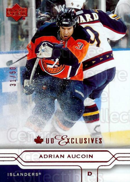 2004-05 Upper Deck UD Exclusives Canadian #111 Adrian Aucoin<br/>1 In Stock - $5.00 each - <a href=https://centericecollectibles.foxycart.com/cart?name=2004-05%20Upper%20Deck%20UD%20Exclusives%20Canadian%20%23111%20Adrian%20Aucoin...&quantity_max=1&price=$5.00&code=353950 class=foxycart> Buy it now! </a>