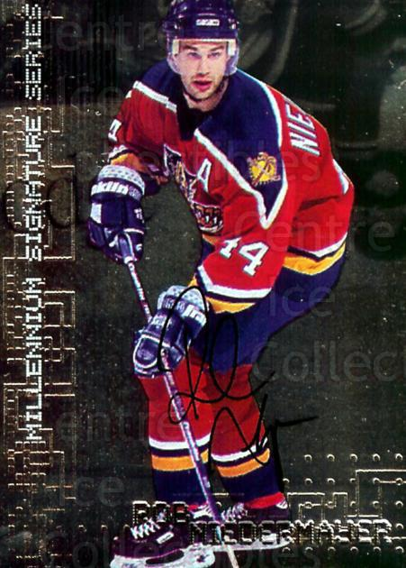 1999-00 BAP Millennium Auto #107 Rob Niedermayer<br/>1 In Stock - $3.00 each - <a href=https://centericecollectibles.foxycart.com/cart?name=1999-00%20BAP%20Millennium%20Auto%20%23107%20Rob%20Niedermayer...&quantity_max=1&price=$3.00&code=355593 class=foxycart> Buy it now! </a>