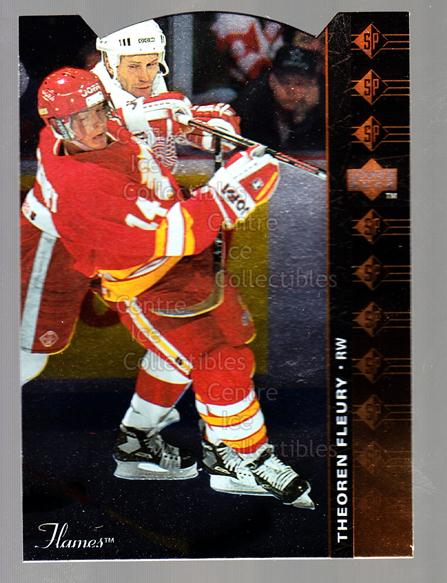 1994-95 Upper Deck SP Inserts Die Cuts #11 Theo Fleury<br/>9 In Stock - $2.00 each - <a href=https://centericecollectibles.foxycart.com/cart?name=1994-95%20Upper%20Deck%20SP%20Inserts%20Die%20Cuts%20%2311%20Theo%20Fleury...&quantity_max=9&price=$2.00&code=35571 class=foxycart> Buy it now! </a>