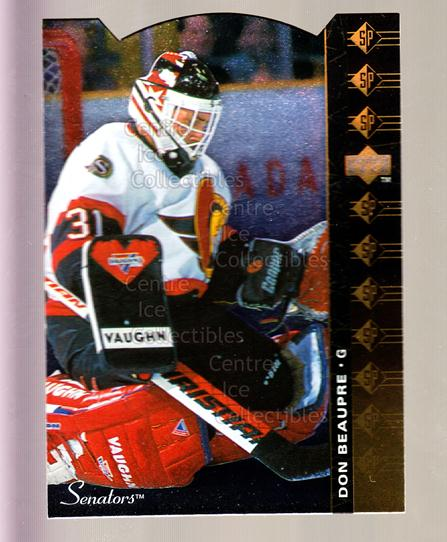 1994-95 Upper Deck SP Inserts Die Cuts #143 Don Beaupre<br/>12 In Stock - $2.00 each - <a href=https://centericecollectibles.foxycart.com/cart?name=1994-95%20Upper%20Deck%20SP%20Inserts%20Die%20Cuts%20%23143%20Don%20Beaupre...&quantity_max=12&price=$2.00&code=35606 class=foxycart> Buy it now! </a>