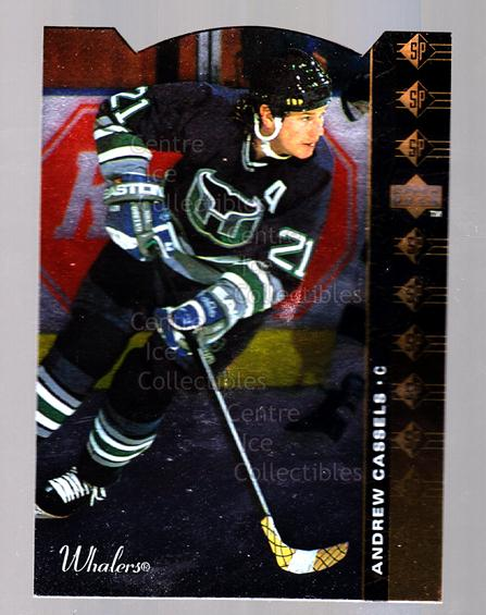 1994-95 Upper Deck SP Inserts Die Cuts #32 Andrew Cassels<br/>12 In Stock - $2.00 each - <a href=https://centericecollectibles.foxycart.com/cart?name=1994-95%20Upper%20Deck%20SP%20Inserts%20Die%20Cuts%20%2332%20Andrew%20Cassels...&quantity_max=12&price=$2.00&code=35658 class=foxycart> Buy it now! </a>