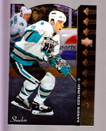 1994-95 Upper Deck SP Inserts Die Cuts #73 Sandis Ozolinsh<br/>11 In Stock - $2.00 each - <a href=https://centericecollectibles.foxycart.com/cart?name=1994-95%20Upper%20Deck%20SP%20Inserts%20Die%20Cuts%20%2373%20Sandis%20Ozolinsh...&quantity_max=11&price=$2.00&code=35696 class=foxycart> Buy it now! </a>