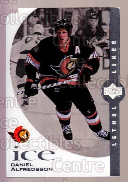 1997-98 UD Ice Lethal Lines #04A Daniel Alfredsson<br/>2 In Stock - $3.00 each - <a href=https://centericecollectibles.foxycart.com/cart?name=1997-98%20UD%20Ice%20Lethal%20Lines%20%2304A%20Daniel%20Alfredss...&quantity_max=2&price=$3.00&code=357329 class=foxycart> Buy it now! </a>
