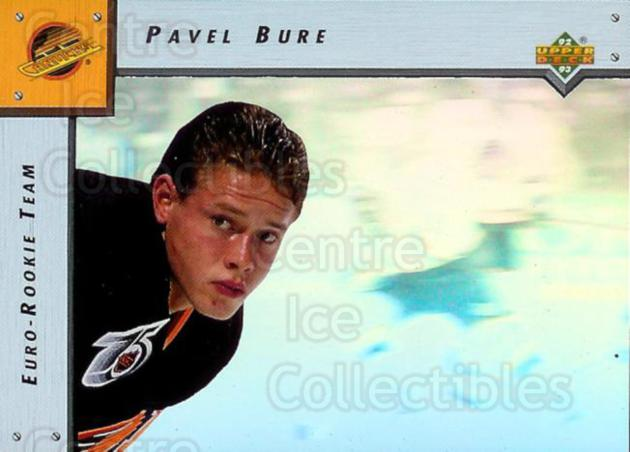 1992-93 Upper Deck Euro Rookie Team #1 Pavel Bure<br/>5 In Stock - $3.00 each - <a href=https://centericecollectibles.foxycart.com/cart?name=1992-93%20Upper%20Deck%20Euro%20Rookie%20Team%20%231%20Pavel%20Bure...&quantity_max=5&price=$3.00&code=357452 class=foxycart> Buy it now! </a>