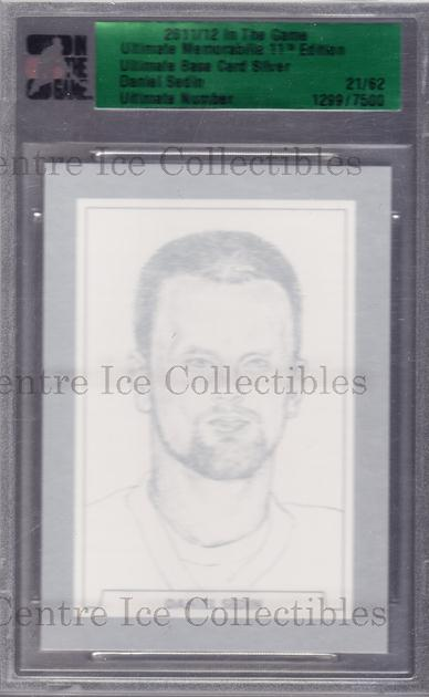 2011-12 ITG Ultimate Memorabilia Base Card Silver #84 Daniel Sedin<br/>2 In Stock - $10.00 each - <a href=https://centericecollectibles.foxycart.com/cart?name=2011-12%20ITG%20Ultimate%20Memorabilia%20Base%20Card%20Silver%20%2384%20Daniel%20Sedin...&price=$10.00&code=358594 class=foxycart> Buy it now! </a>