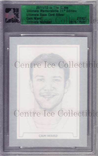 2011-12 ITG Ultimate Memorabilia Base Silver #97 Cam Ward<br/>6 In Stock - $10.00 each - <a href=https://centericecollectibles.foxycart.com/cart?name=2011-12%20ITG%20Ultimate%20Memorabilia%20Base%20Silver%20%2397%20Cam%20Ward...&price=$10.00&code=358607 class=foxycart> Buy it now! </a>