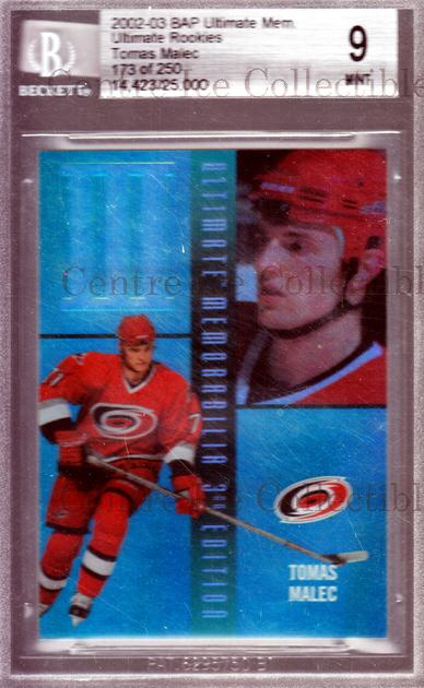 <a href=index.aspx?SetName=2002-03%20BAP%20Ultimate%20Memorabilia%20BGS%209>2002-03 BAP Ultimate Memorabilia BGS 9</a> #58 <a href=index.aspx?PlayerName=Tomas%20Malec> Tomas Malec</a><br/>1 in stock - $10.00 each - <a href=https://centericecollectibles.foxycart.com/cart?name=2002-03%20BAP%20Ultimate%20Memorabilia%20BGS%209%20%2358%20Tomas%20Malec...&price=$10.00&code=358668 class=foxycart> Buy it now! </a>