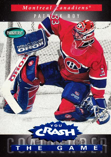 1994-95 Parkhurst Crash the Game Blue #R12 Patrick Roy<br/>14 In Stock - $5.00 each - <a href=https://centericecollectibles.foxycart.com/cart?name=1994-95%20Parkhurst%20Crash%20the%20Game%20Blue%20%23R12%20Patrick%20Roy...&quantity_max=14&price=$5.00&code=359175 class=foxycart> Buy it now! </a>