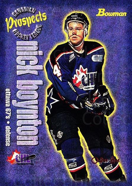 1997 Bowman CHL OPC Parallel #154 Nick Boynton<br/>1 In Stock - $3.00 each - <a href=https://centericecollectibles.foxycart.com/cart?name=1997%20Bowman%20CHL%20OPC%20Parallel%20%23154%20Nick%20Boynton...&quantity_max=1&price=$3.00&code=361340 class=foxycart> Buy it now! </a>