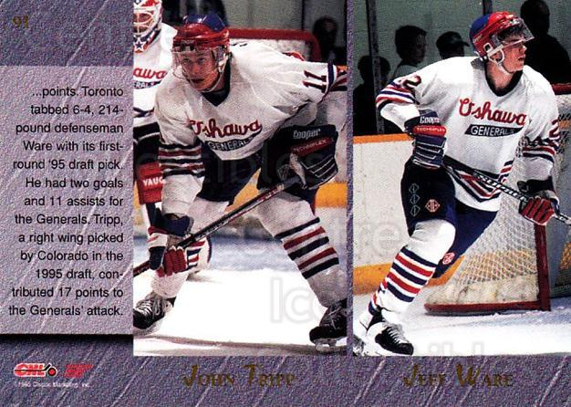 1995 Classic Hockey Draft #91 John Tripp, Jeff Ware, Marc Savard, Darryl LaFrance<br/>6 In Stock - $1.00 each - <a href=https://centericecollectibles.foxycart.com/cart?name=1995%20Classic%20Hockey%20Draft%20%2391%20John%20Tripp,%20Jef...&quantity_max=6&price=$1.00&code=36222 class=foxycart> Buy it now! </a>