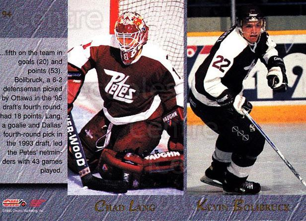 1995 Classic Hockey Draft #94 Chad Lang, Kevin Bolibruck, Dave Duerden, Jamie Langenbrunner<br/>8 In Stock - $1.00 each - <a href=https://centericecollectibles.foxycart.com/cart?name=1995%20Classic%20Hockey%20Draft%20%2394%20Chad%20Lang,%20Kevi...&quantity_max=8&price=$1.00&code=36225 class=foxycart> Buy it now! </a>