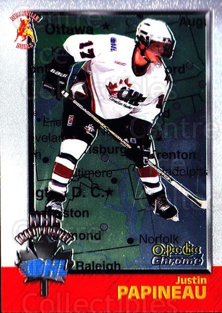 1998 Bowman CHL Chrome OPC International #149 Justin Papineau<br/>1 In Stock - $3.00 each - <a href=https://centericecollectibles.foxycart.com/cart?name=1998%20Bowman%20CHL%20Chrome%20OPC%20International%20%23149%20Justin%20Papineau...&quantity_max=1&price=$3.00&code=362269 class=foxycart> Buy it now! </a>