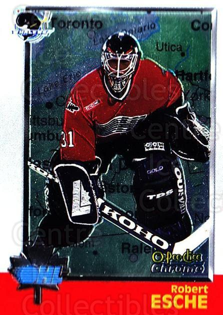 1998 Bowman CHL Chrome OPC International #1 Robert Esche<br/>1 In Stock - $3.00 each - <a href=https://centericecollectibles.foxycart.com/cart?name=1998%20Bowman%20CHL%20Chrome%20OPC%20International%20%231%20Robert%20Esche...&quantity_max=1&price=$3.00&code=362367 class=foxycart> Buy it now! </a>