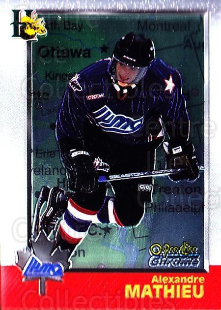 1998 Bowman CHL Chrome OPC International #115 Alexandre Mathieu<br/>3 In Stock - $3.00 each - <a href=https://centericecollectibles.foxycart.com/cart?name=1998%20Bowman%20CHL%20Chrome%20OPC%20International%20%23115%20Alexandre%20Mathi...&quantity_max=3&price=$3.00&code=362384 class=foxycart> Buy it now! </a>
