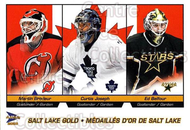 2002-03 McDonald's Pacific Salt Lake Gold #1 Martin Brodeur, Curtis Joseph, Ed Belfour<br/>1 In Stock - $1.00 each - <a href=https://centericecollectibles.foxycart.com/cart?name=2002-03%20McDonald's%20Pacific%20Salt%20Lake%20Gold%20%231%20Martin%20Brodeur,...&price=$1.00&code=362800 class=foxycart> Buy it now! </a>