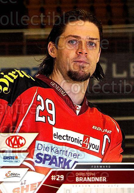 2011-12 Erste Bank Eishockey Liga EBEL #209 Christoph Brandner<br/>3 In Stock - $2.00 each - <a href=https://centericecollectibles.foxycart.com/cart?name=2011-12%20Erste%20Bank%20Eishockey%20Liga%20EBEL%20%23209%20Christoph%20Brand...&quantity_max=3&price=$2.00&code=362814 class=foxycart> Buy it now! </a>