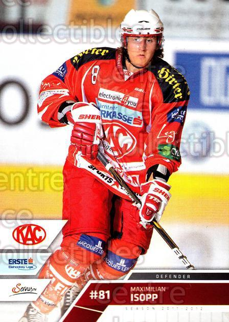 2011-12 Erste Bank Eishockey Liga EBEL #210 Maximilian Isopp<br/>3 In Stock - $2.00 each - <a href=https://centericecollectibles.foxycart.com/cart?name=2011-12%20Erste%20Bank%20Eishockey%20Liga%20EBEL%20%23210%20Maximilian%20Isop...&quantity_max=3&price=$2.00&code=362815 class=foxycart> Buy it now! </a>