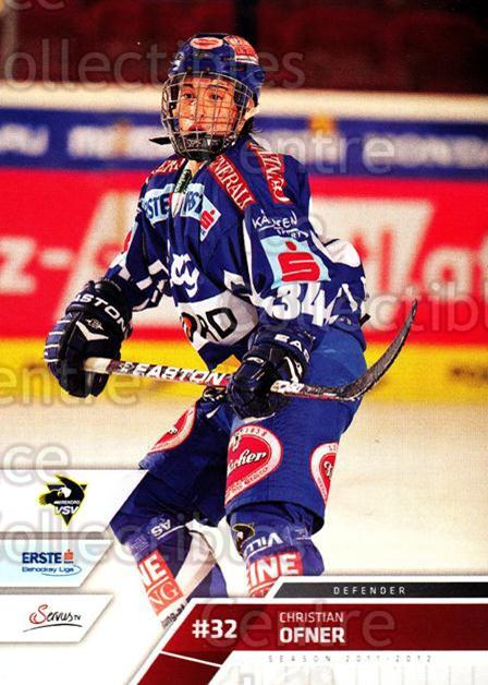 2011-12 Erste Bank Eishockey Liga EBEL #223 Christian Ofner<br/>5 In Stock - $2.00 each - <a href=https://centericecollectibles.foxycart.com/cart?name=2011-12%20Erste%20Bank%20Eishockey%20Liga%20EBEL%20%23223%20Christian%20Ofner...&quantity_max=5&price=$2.00&code=362828 class=foxycart> Buy it now! </a>
