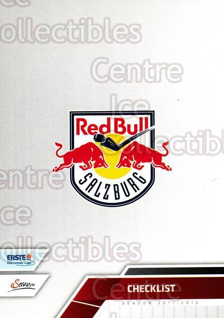 2011-12 Erste Bank Eishockey Liga EBEL #286 EC Red Bull Salzburg, Checklist<br/>5 In Stock - $2.00 each - <a href=https://centericecollectibles.foxycart.com/cart?name=2011-12%20Erste%20Bank%20Eishockey%20Liga%20EBEL%20%23286%20EC%20Red%20Bull%20Sal...&quantity_max=5&price=$2.00&code=362891 class=foxycart> Buy it now! </a>