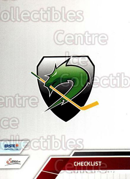 2011-12 Erste Bank Eishockey Liga EBEL #290 HDD Tilia Olimpija Ljubljana, Checklist<br/>5 In Stock - $2.00 each - <a href=https://centericecollectibles.foxycart.com/cart?name=2011-12%20Erste%20Bank%20Eishockey%20Liga%20EBEL%20%23290%20HDD%20Tilia%20Olimp...&quantity_max=5&price=$2.00&code=362895 class=foxycart> Buy it now! </a>