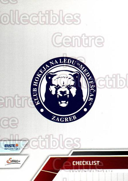 2011-12 Erste Bank Eishockey Liga EBEL #291 KHL Medvescak Zagreb, Checklist<br/>5 In Stock - $2.00 each - <a href=https://centericecollectibles.foxycart.com/cart?name=2011-12%20Erste%20Bank%20Eishockey%20Liga%20EBEL%20%23291%20KHL%20Medvescak%20Z...&quantity_max=5&price=$2.00&code=362896 class=foxycart> Buy it now! </a>