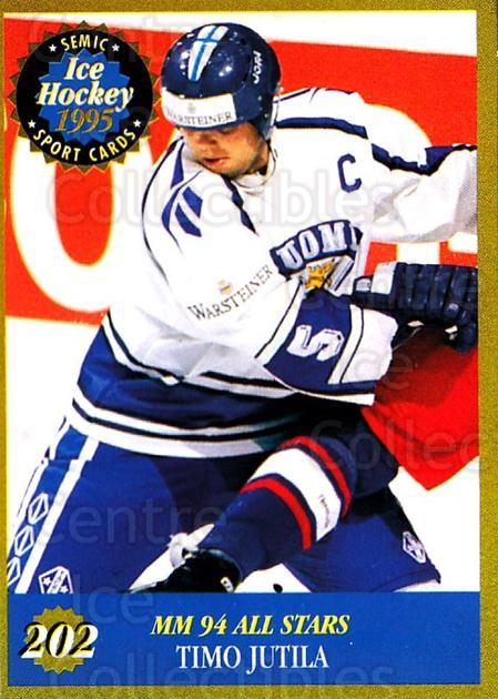 1995 Finnish Semic World Championships #202 Timo Jutila<br/>7 In Stock - $2.00 each - <a href=https://centericecollectibles.foxycart.com/cart?name=1995%20Finnish%20Semic%20World%20Championships%20%23202%20Timo%20Jutila...&quantity_max=7&price=$2.00&code=36348 class=foxycart> Buy it now! </a>