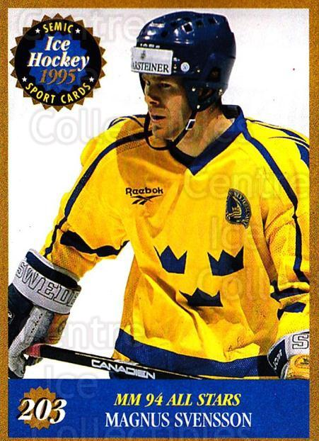 1995 Finnish Semic World Championships #203 Magnus Svensson<br/>4 In Stock - $2.00 each - <a href=https://centericecollectibles.foxycart.com/cart?name=1995%20Finnish%20Semic%20World%20Championships%20%23203%20Magnus%20Svensson...&quantity_max=4&price=$2.00&code=36349 class=foxycart> Buy it now! </a>