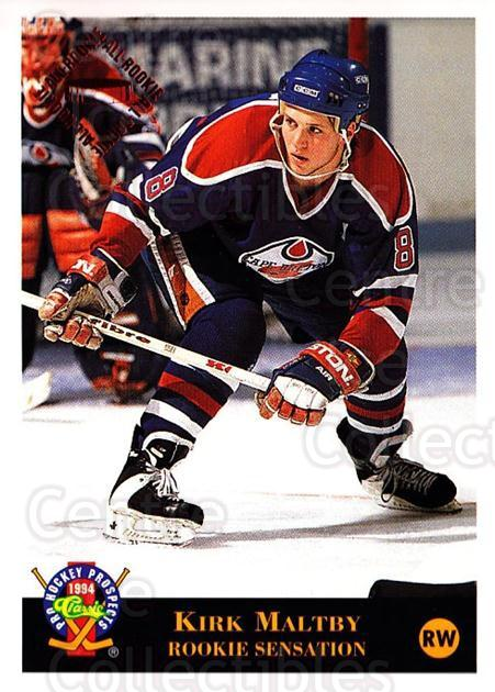 1994 Classic Pro Prospects #21 Kirk Maltby<br/>7 In Stock - $1.00 each - <a href=https://centericecollectibles.foxycart.com/cart?name=1994%20Classic%20Pro%20Prospects%20%2321%20Kirk%20Maltby...&quantity_max=7&price=$1.00&code=3639 class=foxycart> Buy it now! </a>