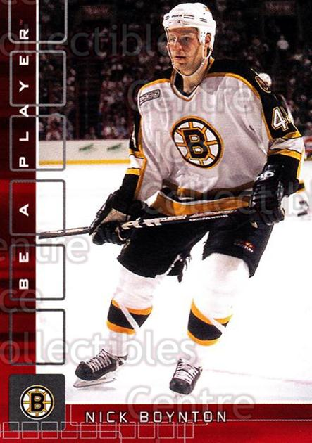 2001-02 BAP Memorabilia Ruby #223 Nick Boynton<br/>1 In Stock - $3.00 each - <a href=https://centericecollectibles.foxycart.com/cart?name=2001-02%20BAP%20Memorabilia%20Ruby%20%23223%20Nick%20Boynton...&quantity_max=1&price=$3.00&code=364403 class=foxycart> Buy it now! </a>