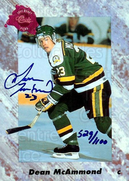1991 Classic Four-Sport Autographs #3 Dean McAmmond<br/>1 In Stock - $5.00 each - <a href=https://centericecollectibles.foxycart.com/cart?name=1991%20Classic%20Four-Sport%20Autographs%20%233%20Dean%20McAmmond...&price=$5.00&code=365107 class=foxycart> Buy it now! </a>