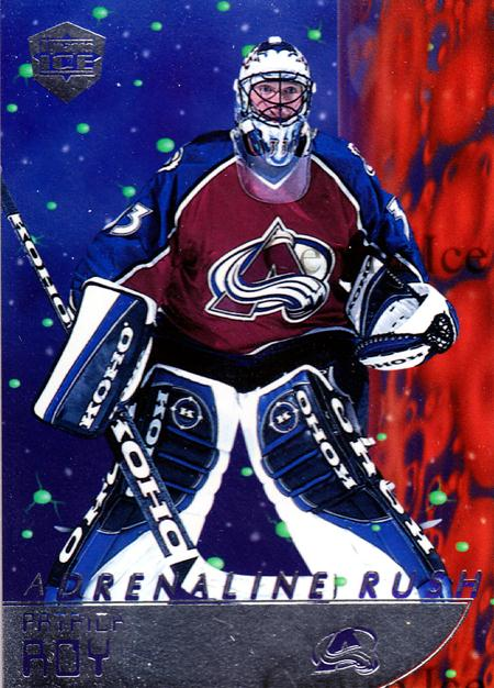 1998-99 Pacific Dynagon Ice Adrenaline Rush Silver #5 Patrick Roy<br/>1 In Stock - $25.00 each - <a href=https://centericecollectibles.foxycart.com/cart?name=1998-99%20Pacific%20Dynagon%20Ice%20Adrenaline%20Rush%20Silver%20%235%20Patrick%20Roy...&price=$25.00&code=365150 class=foxycart> Buy it now! </a>