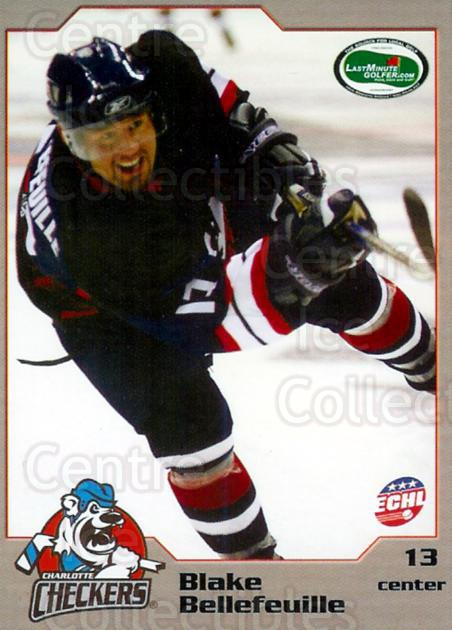 2006-07 Charlotte Checkers #2 Blake Bellefeuille<br/>3 In Stock - $3.00 each - <a href=https://centericecollectibles.foxycart.com/cart?name=2006-07%20Charlotte%20Checkers%20%232%20Blake%20Bellefeui...&quantity_max=3&price=$3.00&code=365685 class=foxycart> Buy it now! </a>