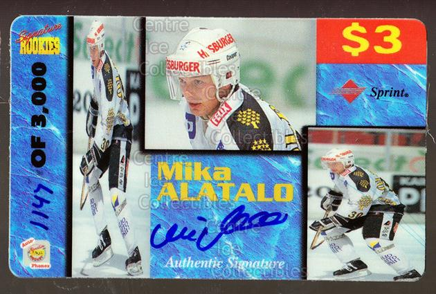 1995 Signature Rookies Auto-Phonex Phone Cards #1 Mika Alatalo<br/>2 In Stock - $3.00 each - <a href=https://centericecollectibles.foxycart.com/cart?name=1995%20Signature%20Rookies%20Auto-Phonex%20Phone%20Cards%20%231%20Mika%20Alatalo...&price=$3.00&code=36592 class=foxycart> Buy it now! </a>