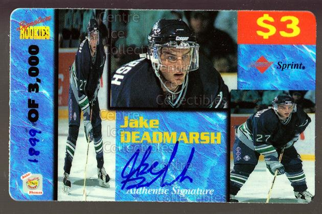 1995 Signature Rookies Auto-Phonex Phone Cards #12 Jake Deadmarsh<br/>4 In Stock - $3.00 each - <a href=https://centericecollectibles.foxycart.com/cart?name=1995%20Signature%20Rookies%20Auto-Phonex%20Phone%20Cards%20%2312%20Jake%20Deadmarsh...&price=$3.00&code=36595 class=foxycart> Buy it now! </a>