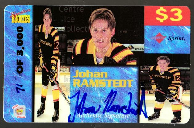 1995 Signature Rookies Auto-Phonex Phone Cards #33 Johan Ramstedt<br/>3 In Stock - $3.00 each - <a href=https://centericecollectibles.foxycart.com/cart?name=1995%20Signature%20Rookies%20Auto-Phonex%20Phone%20Cards%20%2333%20Johan%20Ramstedt...&price=$3.00&code=36607 class=foxycart> Buy it now! </a>