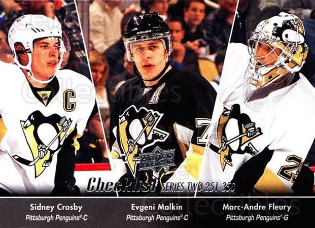 2010-11 Upper Deck #449 Marc-Andre Fleury, Evgeni Malkin, Sidney Crosby, Checklist<br/>1 In Stock - $2.00 each - <a href=https://centericecollectibles.foxycart.com/cart?name=2010-11%20Upper%20Deck%20%23449%20Marc-Andre%20Fleu...&price=$2.00&code=366088 class=foxycart> Buy it now! </a>