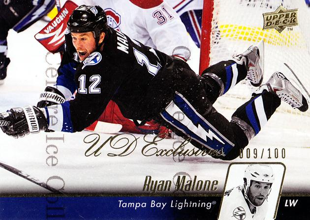 2010-11 Upper Deck UD Exclusives #24 Ryan Malone<br/>1 In Stock - $5.00 each - <a href=https://centericecollectibles.foxycart.com/cart?name=2010-11%20Upper%20Deck%20UD%20Exclusives%20%2324%20Ryan%20Malone...&quantity_max=1&price=$5.00&code=366473 class=foxycart> Buy it now! </a>