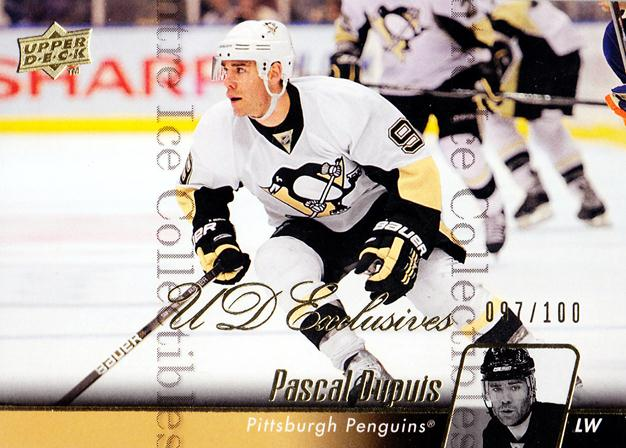 2010-11 Upper Deck UD Exclusives #44 Pascal Dupuis<br/>1 In Stock - $5.00 each - <a href=https://centericecollectibles.foxycart.com/cart?name=2010-11%20Upper%20Deck%20UD%20Exclusives%20%2344%20Pascal%20Dupuis...&quantity_max=1&price=$5.00&code=366493 class=foxycart> Buy it now! </a>