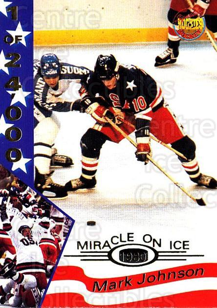 1995 Signature Rookies Miracle on Ice Numbered #18 Mark Johnson<br/>7 In Stock - $2.00 each - <a href=https://centericecollectibles.foxycart.com/cart?name=1995%20Signature%20Rookies%20Miracle%20on%20Ice%20Numbered%20%2318%20Mark%20Johnson...&quantity_max=7&price=$2.00&code=36655 class=foxycart> Buy it now! </a>
